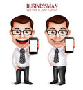 Professional Business Man Vector Character Holding Mobile Phone Royalty Free Stock Image - 64045466