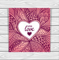 Template With Zen-doodle Style Pattern And Heart Frame Pink Lilac Royalty Free Stock Image - 64045996