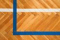 Blue White Lines. Worn Out Wooden Floor Of Sports Hall With Colorful Marking Lines. Royalty Free Stock Images - 64053259