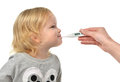 Doctor Hand Measuring Temperature To Baby Toddler Child Kid With Stock Image - 64053591