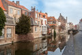 Beautiful Houses Along The Canals Of Brugge, Belgium. Tourism Destination In Europe Stock Photo - 64061470