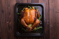 Roasted Whole Chicken / Turkey For Celebration And Holiday. Christmas, Thanksgiving, New Year S Eve Dinner Royalty Free Stock Image - 64066196
