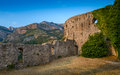 Old Fortress Walls And Mountain Range Stock Photography - 64066372