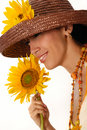 Young Woman With Sunflower Stock Image - 6414261