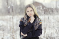 Beautiful Russian Woman  At Winter Nature Royalty Free Stock Images - 64108409