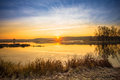 Bright Beautiful Sunrise Over Calm Lake, River And Royalty Free Stock Photo - 64112765