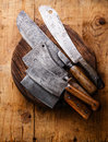 Butcher Meat Cleavers On Chopping Block Royalty Free Stock Photo - 64118865