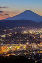 Hadano City Night Scape View With Mountain Fuji At Sunset Time Stock Images - 64139064