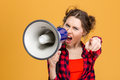 Annoyed Furious Woman Shouting In Loudspeaker And Pointing On You Royalty Free Stock Photos - 64153488