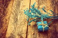 Small Blue Gift Box And Branch Stock Images - 64162604