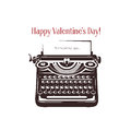 Valentine Day Card. Vintage Typewriter With Text Stock Images - 64170304
