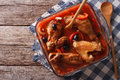 Sliced Chicken Stewed In Tomato Sauce With Olives Horizontal Top Royalty Free Stock Photos - 64186648
