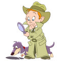 Smart Young Cartoon Detective Boy Stock Photos - 64186853