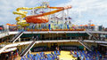 Water Slides On The Carnival Breeze Docked In Miami, Florida Stock Photography - 64189802
