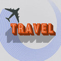 Vintage Travel Card With Plane Stock Photo - 64241270