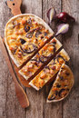 Sliced Pie Flammkuchen On The Table. Vertical Top View Royalty Free Stock Photos - 64248538
