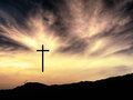 Easter Christian Background, Crosses, Landscape, He Is Risen. Stock Photography - 64248962