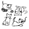 Funny Cartoon Kittens (set) Royalty Free Stock Images - 64264229