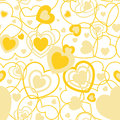 Yellow Heart Shape Seamless Background. Template Valentine Greeting Card Royalty Free Stock Photos - 64267108
