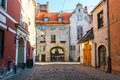 Morning Summer Medieval Street In Old City Of Riga, Latvia Stock Images - 64276304
