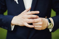 Close-up Of Elegance Male Hands. Man Dressed In Blue Suit And Wh Royalty Free Stock Photos - 64302498