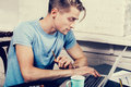 Young Man With Notebook Laptop Working On Work Place Royalty Free Stock Photos - 64311108