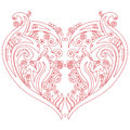 Valentines Swirly Love Heart Tattoo Inspired Cutout Card Stock Images - 64318864