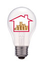 House Inside Light Bulb, Isolated On White Royalty Free Stock Photography - 64350337