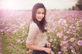 Beautiful Asian Women Smiling In Pink Cosmos Flower Field Royalty Free Stock Images - 64350819