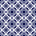 Seamless Background Image Of Vintage Blue Spiral Flower Vine Kaleidoscope Pattern. Stock Images - 64373784