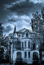 Scary Horror And Mystic Black And White House Royalty Free Stock Image - 64378296