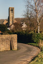 Road Leading In To Small Town Of Damme With Church Royalty Free Stock Image - 64387296