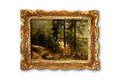 Image Of Beautiful Forest In Wooden Painting Frame Royalty Free Stock Images - 64388599