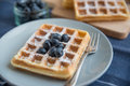 Belgian Waffles With Fresh Berries Stock Photography - 64395152