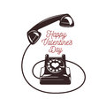 Valentine Day Card. Vintage Phone With Greeting Stock Images - 64421294