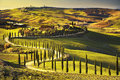 Tuscany, Rural Sunset Landscape. Countryside Farm, White Road An Royalty Free Stock Photography - 64422607