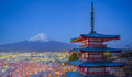 View Of Mountain Fuji And Red Pagoda In Early Morning Royalty Free Stock Photos - 64423468
