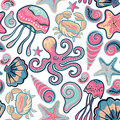 Vector Hand Drawn Seamless Pattern With Jellyfish, Shells, Starfish, Octopus And Crabs. Ocean Background Royalty Free Stock Photos - 64446518