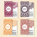 Set Of Cards. Ornate Design Can Used For Invitation, Greeting Or Business Card. Template For Your Design. Mandala Vector Backgroun Royalty Free Stock Photography - 64446937