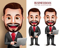 Business Man Vector Character Happy Holding Laptop Notebook Royalty Free Stock Photos - 64447918