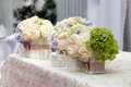 Flowers In The Vase. Elegance Table Set Up For Wedding Stock Photos - 64462483