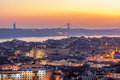 Sunset From The Monte Agudo Viewpoint In Lisbon, Capital Of Portugal Royalty Free Stock Photos - 64478438