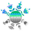 Save Our Earth Blue And Green Poster Template. Royalty Free Stock Photo - 64495705