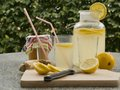 Detailed Picture Of All Ingredients Neccesary To Cook A Homemade Lemonade Consist From Water, Lemon, Ginger And Glass Of Honey. Stock Images - 64496934