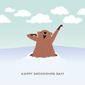 Happy Groundhog Day Design With Cute Groundhog Royalty Free Stock Photography - 64507217