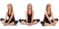 Horizontal Assembly Of The Three Angles Of A Girl Stock Image - 64509911