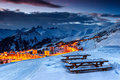 Stunning Sunset And Ski Resort In The French Alps,  Europe Stock Photos - 64510943