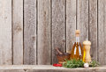 Kitchen Utensils, Herbs And Spices On Shelf Royalty Free Stock Photography - 64511417