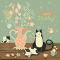 Still-life With A Bouquet Of Flowers And Cats Stock Images - 64513984