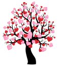 Silhouette Of Tree With Hearts Theme 1 Stock Photos - 64517003